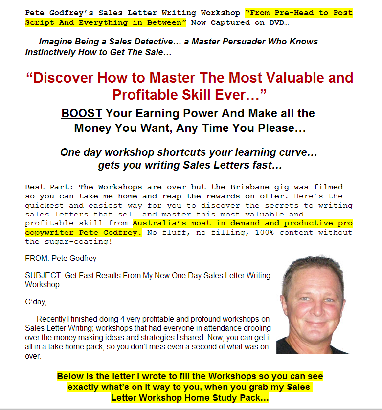 how to write a letter get pete godfrey sales letter writing workshop 297 7372